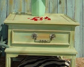 MID CENTURY NIGHTSTAND - Side Table Painted Pale Green Orange and Turquoise