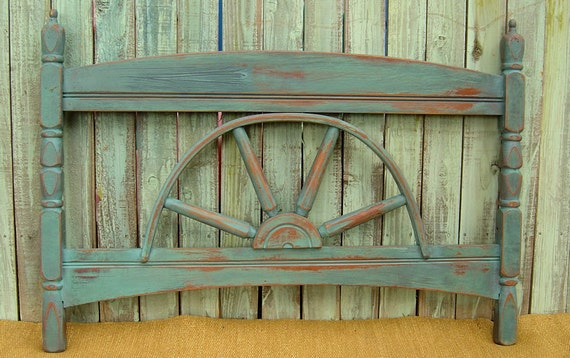 Reserved for Customer-HEADBOARD FOR BOY - Vintage Wagon Wheel Headboard for a Twin Size Bed Painted Blue