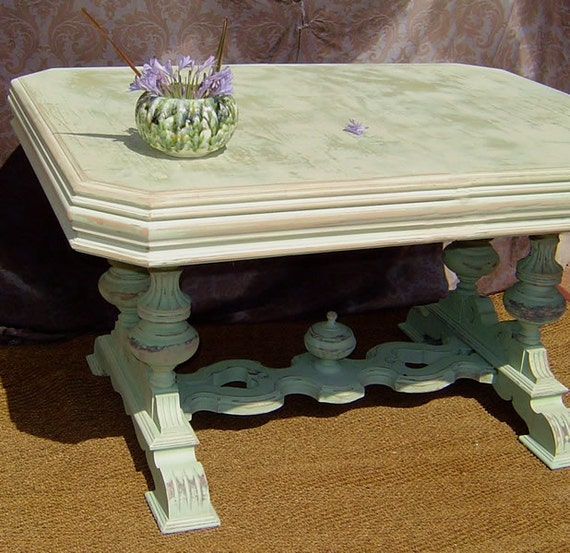 reserved for customer WHITE DINING TABLE - 1920s Antiqued Aqua Turquoise and White Distressed Shabby Kitchen
