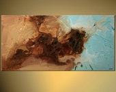 """48"""" ORIGINAL Blue Brown Abstract Art Contemporary Canvas Art Ready To Hang by OSNAT"""