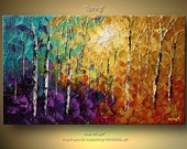 ORIGINAL Abstract Tree Painting Thick Texture of Birch Trees Painting Acrylic Landscape Painting With Palette Knife By Osnat Tzadok