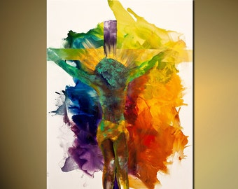 """Jesus Print 36""""x27""""  Colorful Stretched Ready to Hang & embellished (brush strokes are added by the artist) Osnat"""