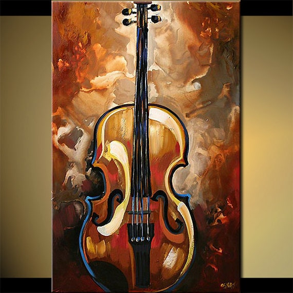 ORIGINAL Abstract Modern Acrylic Violin Painting Music Art on