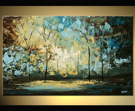 Walk With Me ORIGINAL Abstract Landscape Blue Tree Painting On Canvas Palette Knife Fine Art by Osnat 40x24