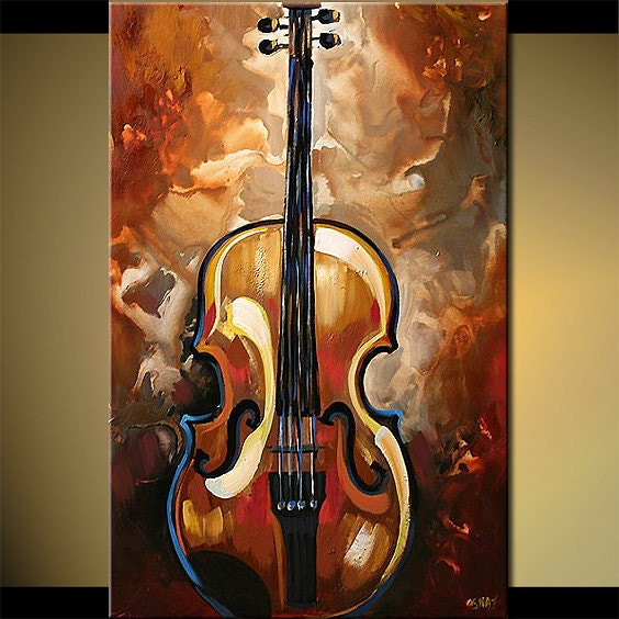 Original Abstract Modern Acrylic Violin Painting Music Art On