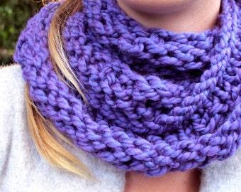 purple knit circle scarf