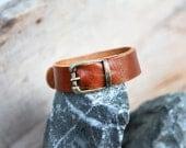 Chic handicraft tan soft genuine cow leather bracelet