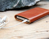Classic branch brown leather iphone case