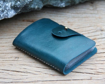 Teal leather cards case
