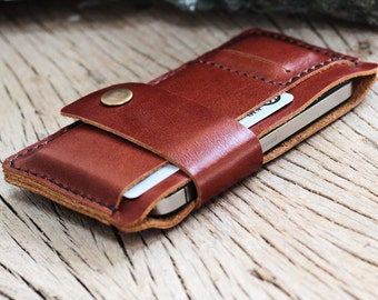 Bravo-branch brown leather iphone wallet