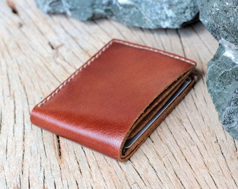 Single brown leather wallet