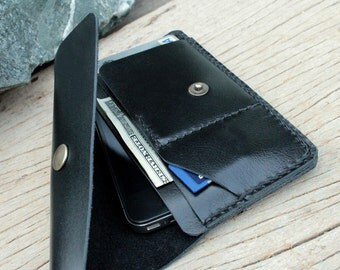 S-black leather iphone wallet