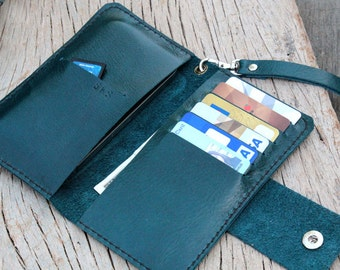 iPhone4/ Full option teal leather iphone wallet with wristlet strap