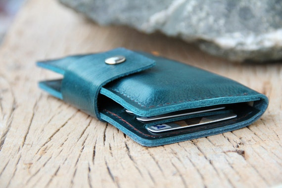 Teal leather iphone wallet