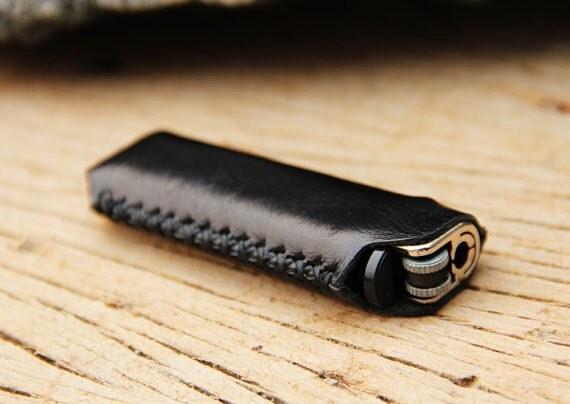 HIP/ black genuine cow Leather Lighter Case