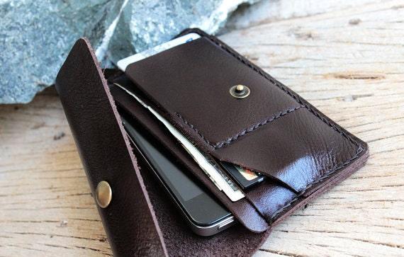 iPhone4/ S-Soil dark brown genuine cow leather phone wallet