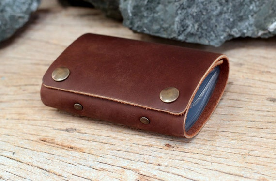 Dark brown leather cards case