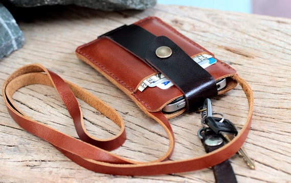 Chocolate brown leather iphone wallet with neck strap
