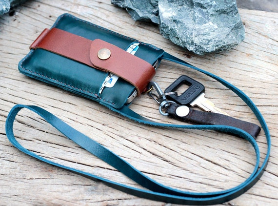 Sea teal leather iphone wallet with neck strap