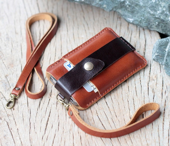 Chocolate brown leather iphone wallet with wristlet strap and Neck strap