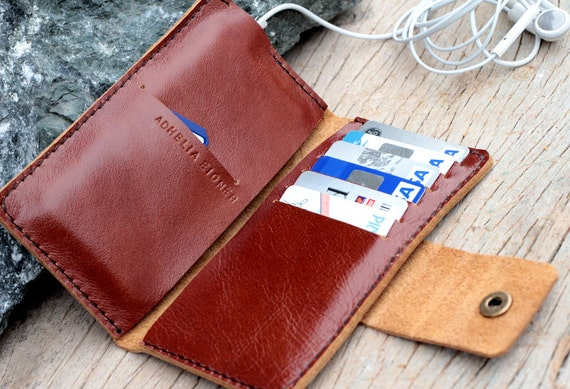Full option branch brown leather iphone wallet (able to request name stamp) with small hole for headphone