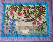 Two Doves in a Birdbath - Quilted Wall Hanging - HANDMADE BY ME - KraftyGrannysHome