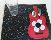 Red Guitar Childs Placemats - HANDMADE BY ME