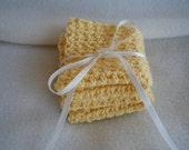 Yellow Crocheted Wash Cloth/Dish Rag  Set of 2