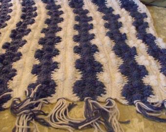 Blue & White Crochet Baby Blanket - HANDMADE BY ME