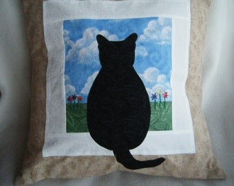 Appliqued Pillow Cover Cat Sitting at a Window Made to Order - HANDMADE BY ME