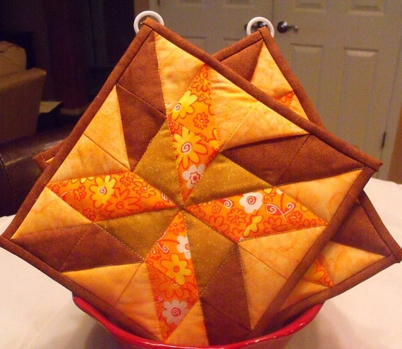 Quilted Orange & Brown Potholders  Set of 2