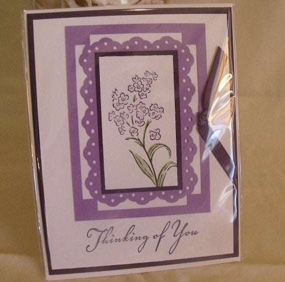 Purple and Lavender Thinking of You Card - HANDMADE BY ME
