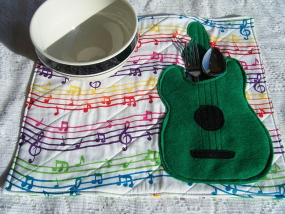 Green Guitar Childs Quilted Placemat