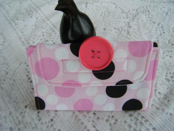 Pink with Polka Dot Print Flash Drive Storage - 100% HANDMADE