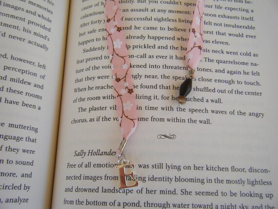 Pink Floral Ribbon Bookmark with Initial - RESERVED LISTING