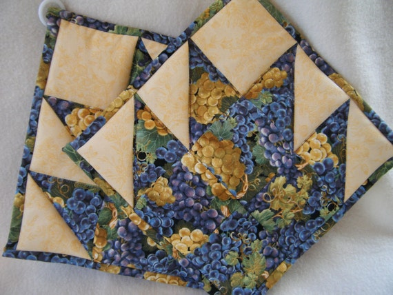 Grape and Golden Yellow Quilted Potholders - Set of 2