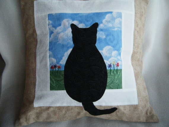 Appliqued Pillow Cover Cat Sitting at a Window Made to Order