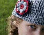 Hand Crocheted Beanie Hat with flower