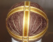 Temari Ball Ornament Bands of Gold on Brown