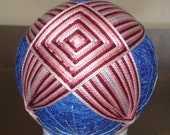 Temari Ball Ornament Cranberry and Pink on Blue
