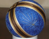 Temari Ball Ornament Bands of Brown on Blue