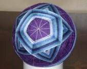 Temari Ball Ornament Blue and Teal Stars on Purple
