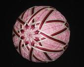 Rattling Temari Ball Ornament Rose and Burgundy on Pink