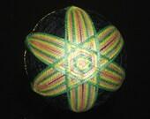 Temari Ball Ornament Yellow Peach Green Star on Black