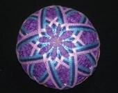 Temari Ball Ornament Blues and Lavender on Purple