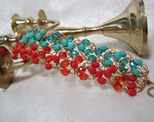 Orange and Turquoise Beaded Bracelet, handmade crocheted wire jewelry, turquoise and orange beadwork bracelet