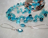 Sky Blue Bead Necklace Set, handmade beaded wire crochet jewelry, light blue beadwork necklace