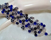 Purple and Blue Beaded Bracelet, handmade wire crochet bead jewelry, blue and purple beadwork bracelet, clearance item