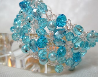 Sky Blue Beaded Bracelet, handmade beaded crochet wire jewelry, light blue beadwork bracelet