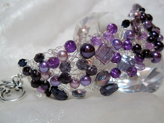Purple Bead Bracelet, handmade wire crochet bead jewelry, purple beadwork bracelet